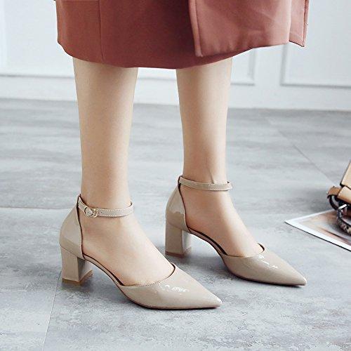 VIVIOO Sandalias De Mujer Sandalias De Tacón Alto Calzado De Tacón Alto Con Sandalias Femeninas De Verano Con Zapatos Baotou De 6Cm Hebilla Con Zapatos De Tacón Alto Mujeres Beige