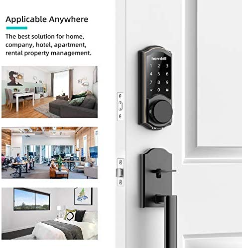 [2020 Newest Version] Keyless Entry Door Lock Deadbolt, Smart Lock Front Door, Electronic Door Locks with Keypads, Digital Auto Lock Bluetooth Smart Door Locks for Homes Bedroom 51YwCR 2Bs5lL