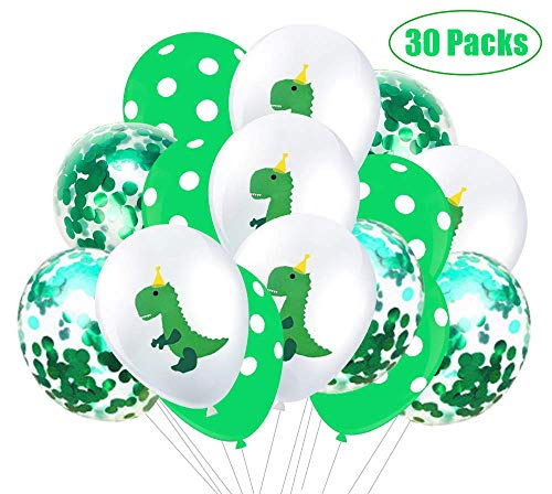(30 Packs) Dinosaur Party Latex Balloons and Confetti Balloons - Dino Baby Shower/Birthday Party Decorations Jungle Jurassic World Party Supplies