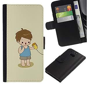 HTC One M8 Modelo colorido cuero carpeta tirón caso cubierta piel Holster Funda protección - Kid Playing Cute Kid Baby Mother