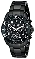 SO&CO New York Men's 5029.3 Yacht Club Analog Display Quartz Black Watch from SO&CO MFG