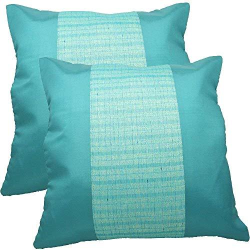 Globalbox Global Box Thai Silk Striped Decorative Throw Pillow Case Cushion Cover Set of Two 16 x 16 Inch (40 x 40 cm) (Green) ()