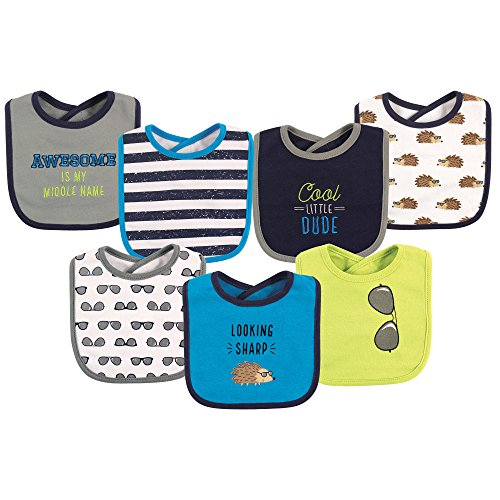 (Hudson Baby Baby Cotton Drooler Bibs, 7 Pack, Hedgehog, One Size)