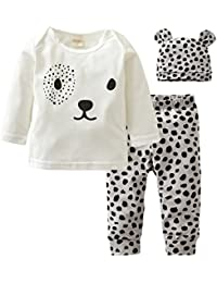 Baby Boys Girls Clothes Long Sleeve Leopard T-Shirt Pants Hat Outfits (12-18 Months)