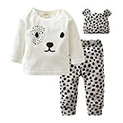 Eghunooy Baby Girl's Clothes Long Sleeve Leopard T-Shirt Pants Hat Outfits (0-6 Months)