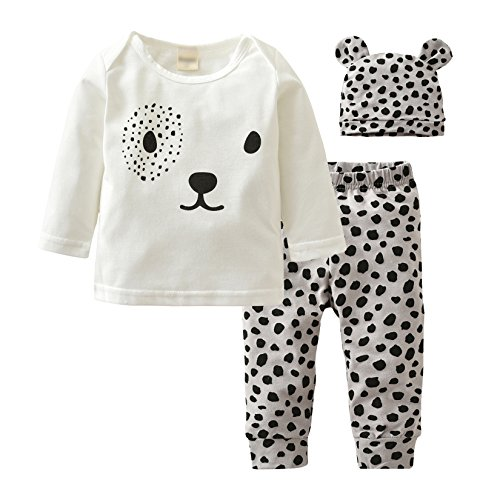 Eghunooy Baby Boys Girls Clothes Long Sleeve Leopard T-Shirt Pants Hat Outfits (12-18 Months)