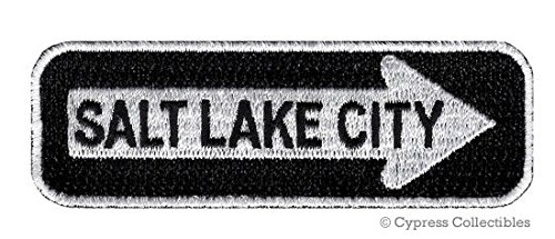 SALT LAKE CITY ONE WAY SIGN EMBROIDERED IRON ON PATCH UTAH SOUVENIR ROAD MORMON PREMIUM QUALITY DETAILED BEST FOR FITS SLEEVES HATS JACKETS VESTS BACKPACKS SCRAPBOOKS PHOTO ALBUMS (Fabric Salt Lake City)