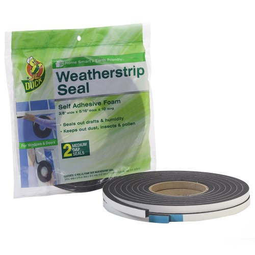 Duck Brand Self Adhesive Foam Weatherstrip Seal for Medium Gaps, 3/8-Inch x 5/16-Inch x 10-Feet, 2 Rolls, (Black Self Adhesive Weatherstrip)