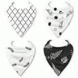 """HnyBaby Baby Bandana Drool Bibs for Boys and Girls 4 Pack """"Oreo"""" Organic Cotton with Adjustable Snaps, Drooling and Teething Bib Unisex Gift Set"""