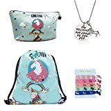 Cheap Unicorn Gifts for Girls 4 Pack – Unicorn Drawstring Backpack/Makeup Bag/Inspirational Necklace/Hair Ties (Unicorn with Rainbow)