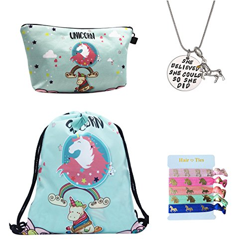 Unicorn Gifts for Girls 4 Pack - Unicorn Drawstring Backpack/Makeup Bag/Inspirational Necklace/Hair Ties (Unicorn with Rainbow) by Doctor Unicorn