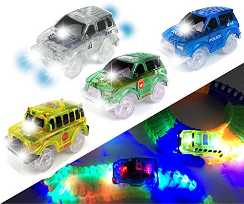[4-PACK] Light Up Track Replacement Race Cars Toy | w/ 5 LED Lights | Glow in the Dark | For Independent & Track Play | Track Accessories Compatible with Most Tracks for Boys and Girls