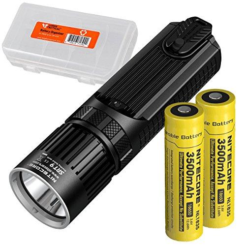 Nitecore SRT9 2150 Lumen Multi-LED Smartring Tactical Flashlight (White, Red, Blue, Green, & UV) PLUS 2x 3500mAh High-Drain 18650 Rechargeable Batteries & LumenTac Battery Organizer by Nitecore