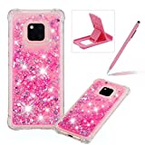 Liquid Case for Huawei Mate 20,Soft TPU Glitter Case for Huawei Mate 20,Herzzer Luxury 3D Sequins Creative Pink Love Hearts Design Floating Quicksand Clear Rubber Case