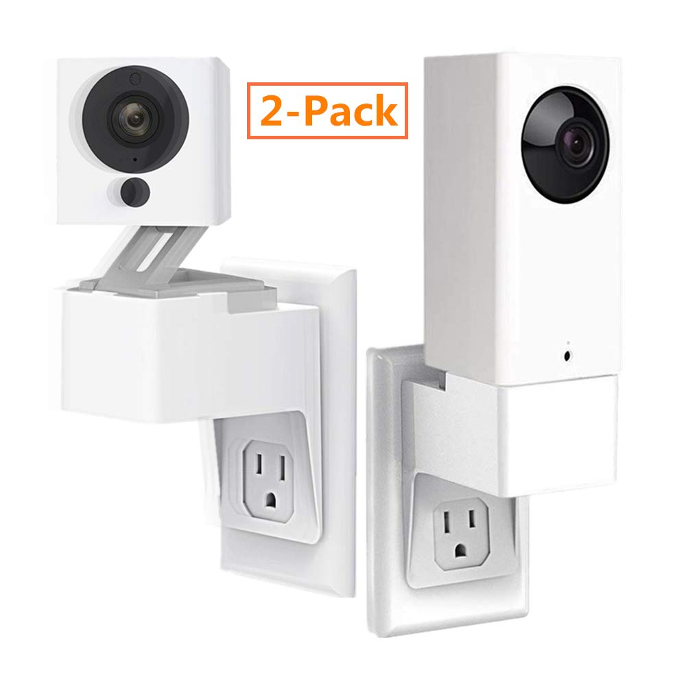 Wyze Cam/Wyze Cam Pan Outlet Wall Mount, Upgraded Version AC Outlet Wall Plug Mount Stand Holder Bracket Without Messy Wires or Wall Damage - 2 Pack by Tyrone