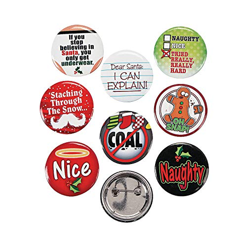 "Fun Express Funny Christmas Sayings Buttons 1.25"" Metal (48 Count)"