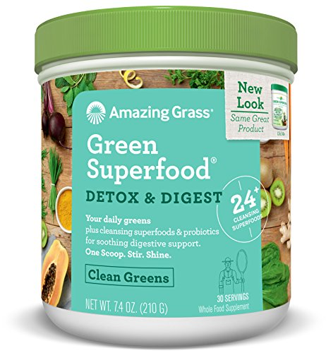 Amazing Grass Green Superfood, Detox & Digest, Powder, 30 Servings, 7.4oz, Cleanse, Detox, Spirulina, Alfalfa, Greens, L. Acidophilus, Chlorella Turmeric, Probiotic