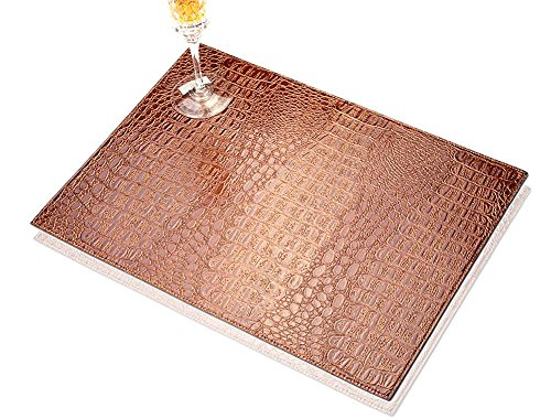 TOYM US- Set Of 2 Hotel Club fake/faux/artificial leather PU Placemat Heat Insulation Mat Waterproof Table Mat Crocodile Stripe Western Mat,40cm 30cm ( Color : Coffee Color ) Leather Crocodile Coffee Table