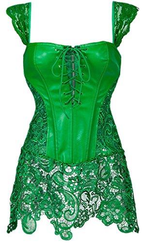 Alivila.Y Fashion Womens Faux Leather Steampunk Corset Dress H3860-Green-S