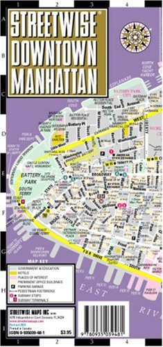 Streetwise Downtown Manhattan Laminated Street - Shopping Map Canal Street