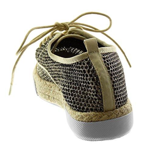 Plateau Cordino Espadrillas Suola Tacco Scarpa 3 Moda Scarpe Traforata Piatto Sneaker Derby Oro Angkorly Cm Glitter Donna OP8qYYH