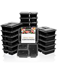 SupperSet Meal Prep Containers with Lids (21-pack) 3 Compartment Bento Box | 36 oz. Stackable, Certified BPA-Free, Portion Control | Reusable, Durable | Microwave, Freezer & Dishwasher Safe