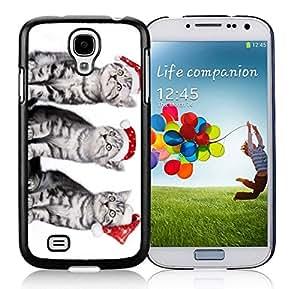Diy Red Christmas Hat Naughty Cats Black TPU Protective Skin For Samsung I9500,Samsung Galaxy S4