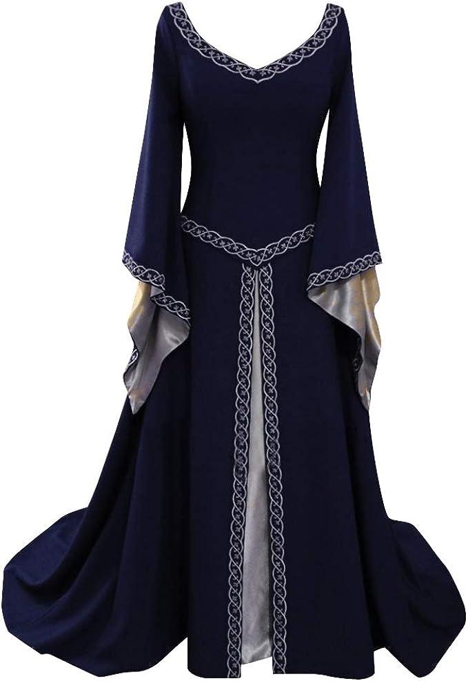 Disfraz Medieval para Mujer Vestido Manga Larga Bordado ...