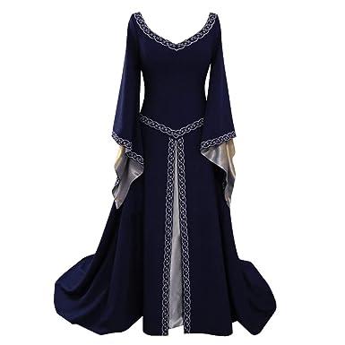 Disfraz Medieval para Mujer Vestido Manga Larga Bordado Renacentista Cosplay