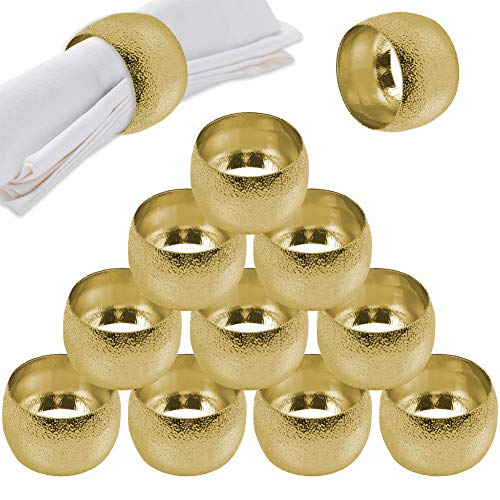 Getfitsoo Napkin Ring,Napkin Holder for Wedding Christmas Party Dinner Table Decor 12 Pcs (Gold ringlike)