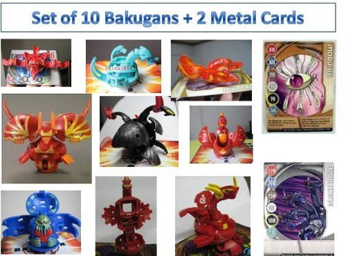 Bakugan Battle Pack - 10 Ramdom Bakugans and 2 Metal Cards S