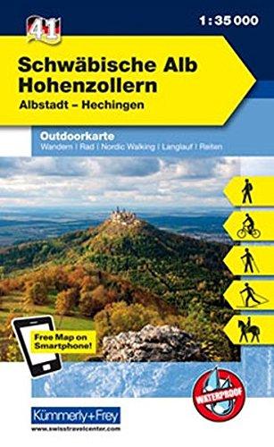 Deutschland Outdoorkarte 41 Schwäbische Alb Hohenzollern 1:35.000: Albstadt-Hechingen. Wanderwege, Radwanderwege, Nordic Walking (Kümmerly+Frey Outdoorkarten Deutschland)