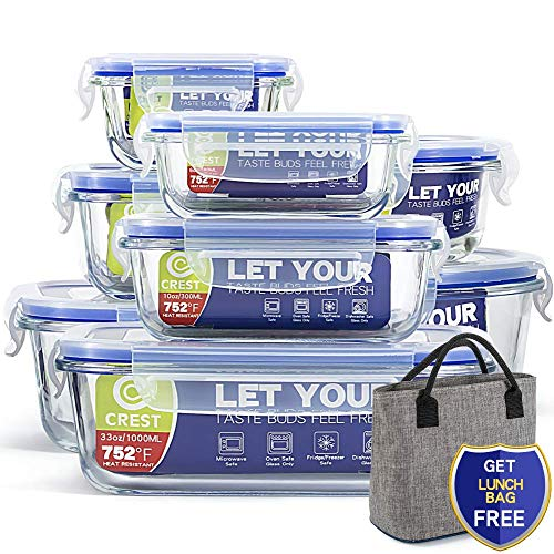 [8-Pack+ Lunch Bag Free] Glass Containers with Lids for Food Storage Airtight - Glass Lunch Containers - BPA Free (Lunch Box Glass Container)