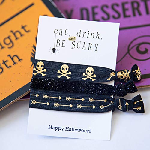Halloween Skulls Party Favors 5 Pack Premium Handcrafted Hair Ties Bracelets Supplies Decorations Gifts for Friends Classmates Coworkers]()