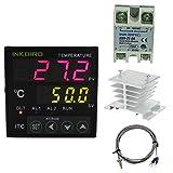 Inkbird Universal PID Temperature Controller SSR Ourput + Relay Alarm Output ITC-100 100 - 240V + 25DA SSR + White Heat Sink + K Sensor(controller + Heat Sink + 25DA)