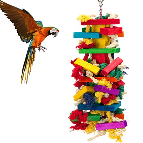 (MEWTOGO Extra Large Bird Parrot Toys for Cockatoos African Grey Macaws)