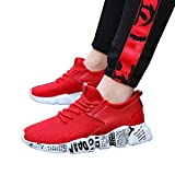 Women's & Men Sneakers Mesh Outdoor Sport Walking Running Shoes Breathable Lightweight Athletic (Red, US:8.0)
