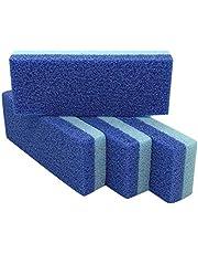 حجر الخفاف للقدم ومزيل مسامير الجلد القاسية ومنظف (عبوة من 4 قطع) (أزرق)