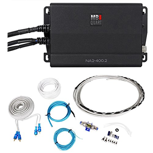 MB QUART NA2-400.2 400 Watt RMS 2-Ch. Marine Boat ATV Compact Amplifier+Amp Kit