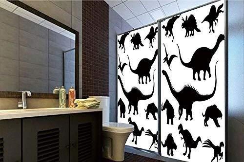 Horrisophie dodo 3D Privacy Window Film No Glue,Dinosaur,Various Black Dino Silhouettes Jurassic Evolution Extinction Predator Animals,Black White,47.24