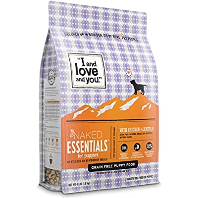 """""""I and love and you"""" Naked Essentials Dry Puppy Food - Natural Grain Free Kibble, Prebiotics & Probiotics, Chicken + Lentils, 4-Pound Bag"""