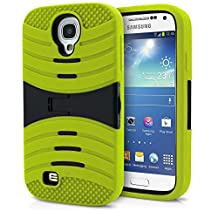 Galaxy S4 Case, MagicMobile® Hybrid Impact Rugged Shockproof Layer Hard Armor Shell And Soft Silicone Skin Cover with Kickstand [ Neon Green - Black ] Free Screen Protector and Stylus