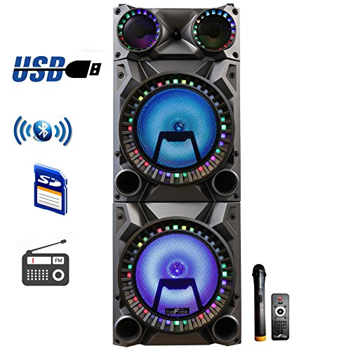 beFree Sound Rechargeable Bluetooth 12inch Double Subwoofer Portable Party Speaker with Dual Layer Reactive Party Lights, USB, SD and AUX Inputs with FM Radio (Double Speaker)