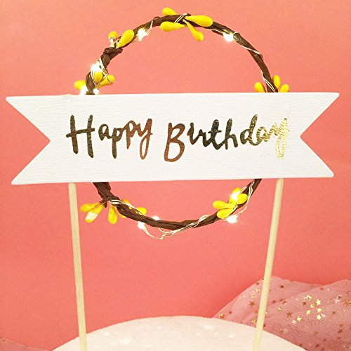 - Birthday Gifts Cake Toppers LED Light for Friends Happy Birthdays