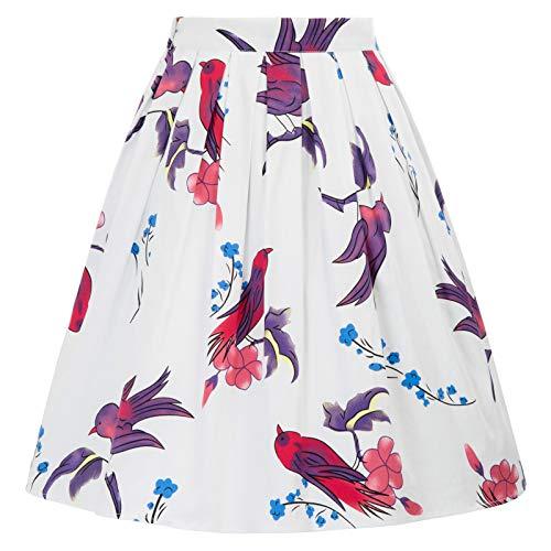 A-line Skirt Bird Pocket Midi Skirt Size L CL6294-36