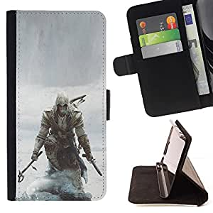 For Samsung ALPHA G850 Assassins Pirate Beautiful Print Wallet Leather Case Cover With Credit Card Slots And Stand Function