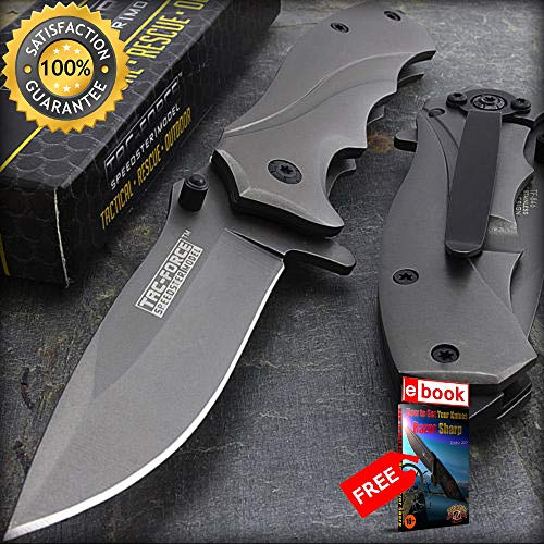 - 6.5'' TAC FORCE TITANIUM COATED SPRING ASSISTED TACTICAL FOLDING KNIFE Razor Sharp Blade Open Combat Tactical Knife + eBOOK by Moon Knives