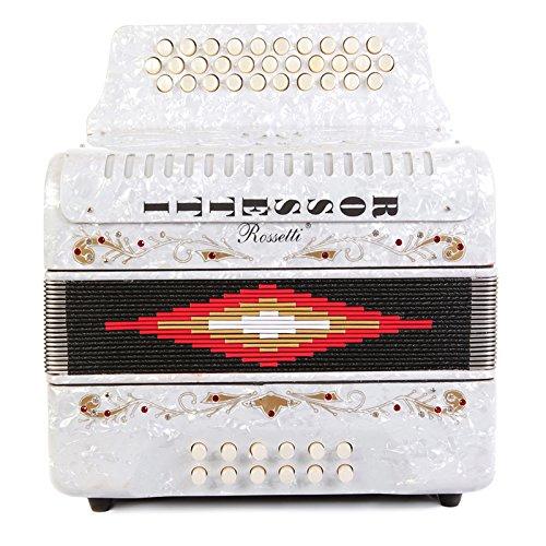 Rossetti 3112 FBbEb FA 31 Treble 12 Bass Button Accordion (White)