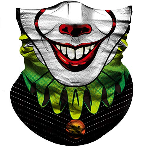 Motorcycle Face Mask Sun UV Dust Wind Protection Durable Tube Mask Bandana Skeleton Face Mask for Men Women Bike Riding Cycling Biker Fishing Hunting Outdoor Festival (Clown V Face Deep Red Nose) ()
