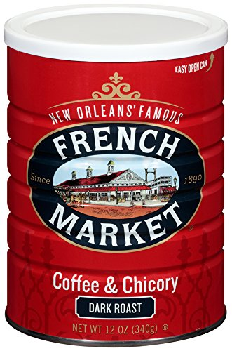 FRENCH MARKET Coffee and Chicory, Dark Roast, 12 Ounce - Orleans New Roasted Coffee